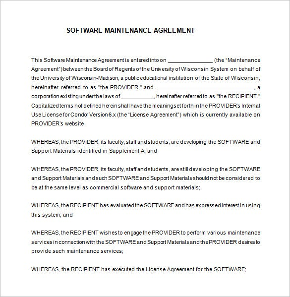 Good Free It Support Maintenance Contract Template