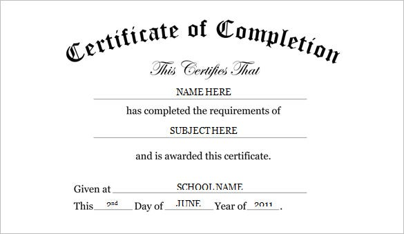 free kindergarten preschool certificate of completion word