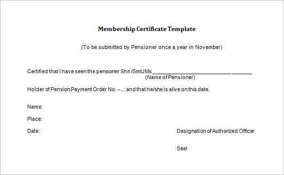 free life membership certificate word download
