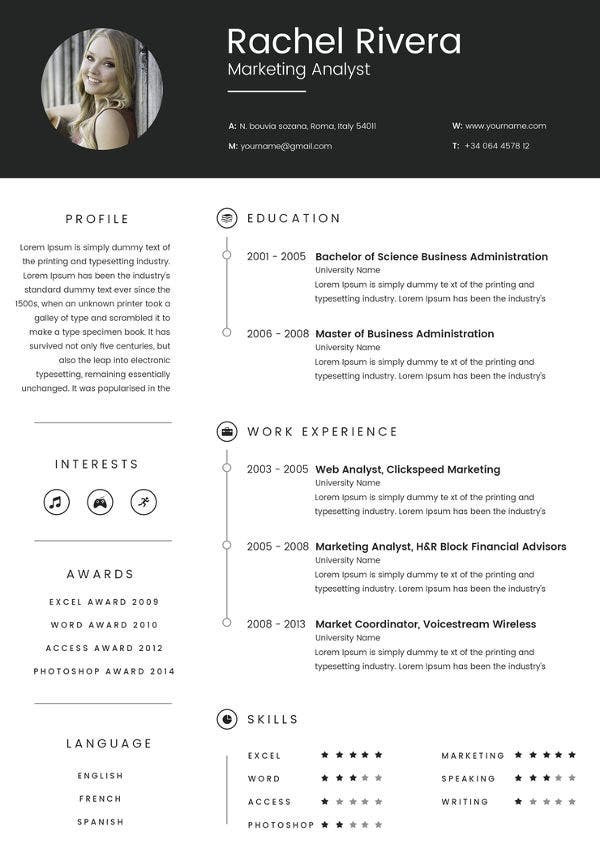 Marketing Analyst Resume Template 16 Free Samples