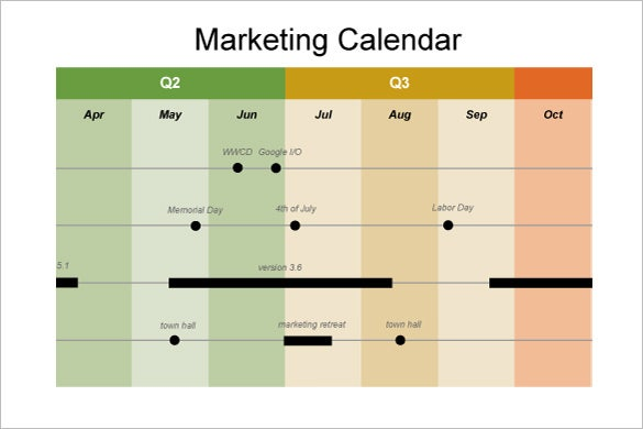 free marketing calendar template timeline