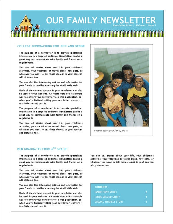 7 Family Newsletter Templates Free Word Documents Download