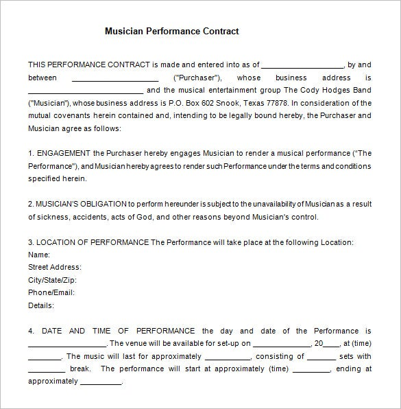 free musician performance contract word format download