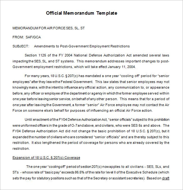 free official memorandum template download