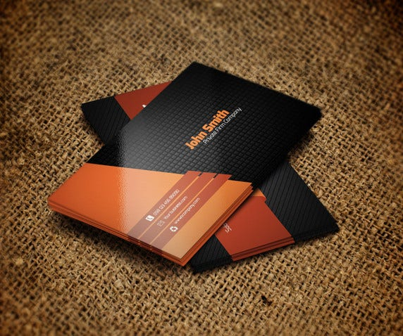 free orange metro style business card template
