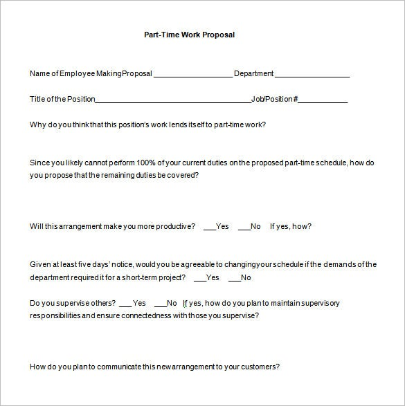 free part time work proposal word