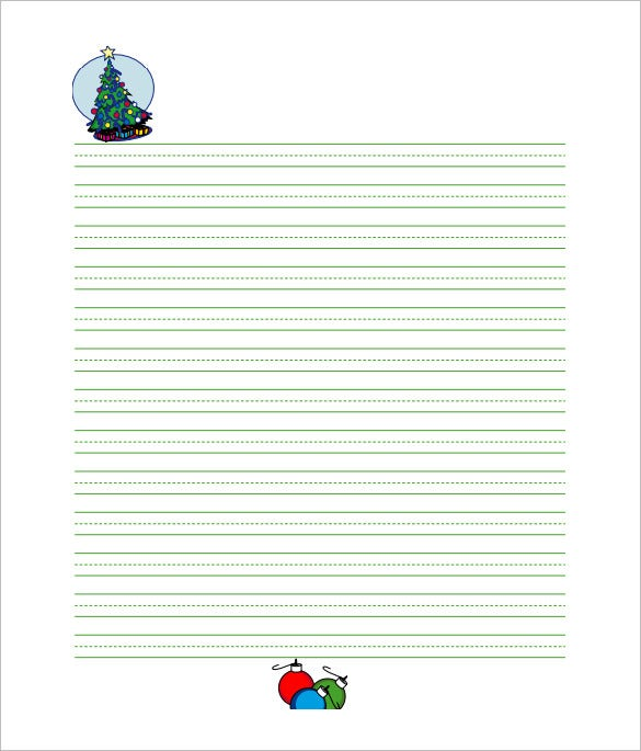 Free Printable Christmas Lined Writing Paper For Kids  Free Printable Writing Paper