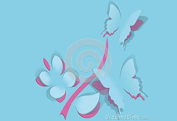 free printable flower with butterfly paper template