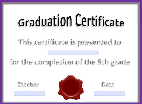 12 graduation certificate templates word pdf documents free printable graduation certificate completion template free download yadclub Images