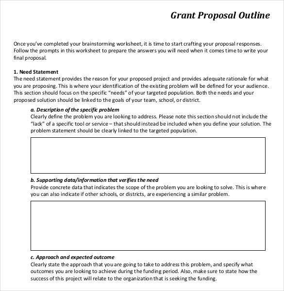 free printable grant proposal outline