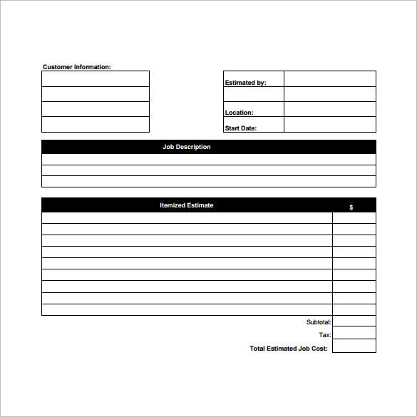 quote forms template free - thelongwayup.info