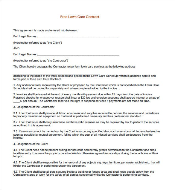 Free Printable Lawn Care Contract Template Download  Free Service Contract