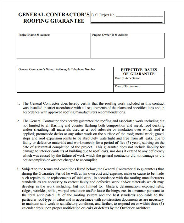 6 Roofing Contract Templates Free PDF Format Download – Blank Contracts