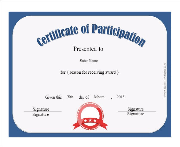 Participation Certificate Template 14 Free Word PDF PSD – Certificate of Participation Template