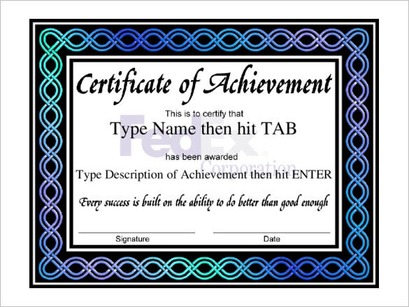 Free Professional Certificate Of Achievement Template  Certificates Of Achievement Free Templates