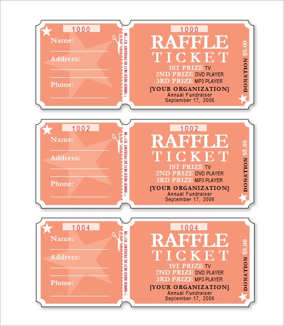 Free Raffle Ticket Template Word Format. Free Download  Fundraiser Ticket Template Free Download