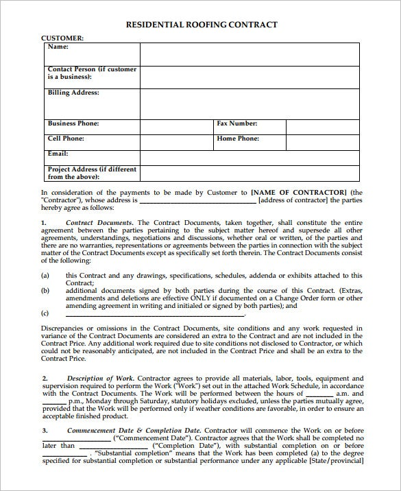 free residential roofing contract template 7  Roofing Contract Templates – Free PDF Format Download! | Free ...