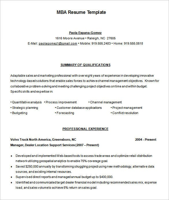 MBA Resume Template 11 Free Samples Examples Format Download – Resume Format for Mba Finance