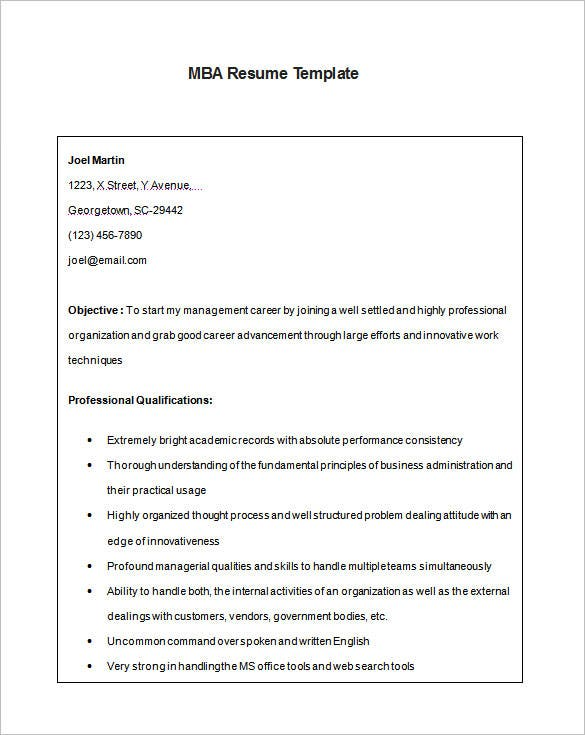 mba resume template 11 free samples examples format download - Business School Resume Template