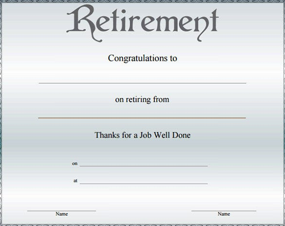 10 Retirement Certificate Templates Free Pdf Format Download