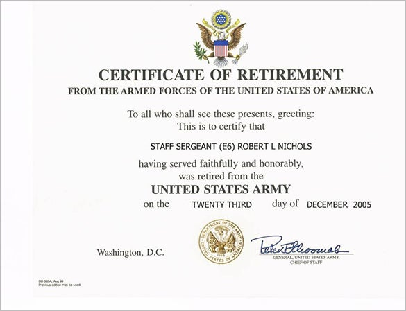 retirement certificate template free