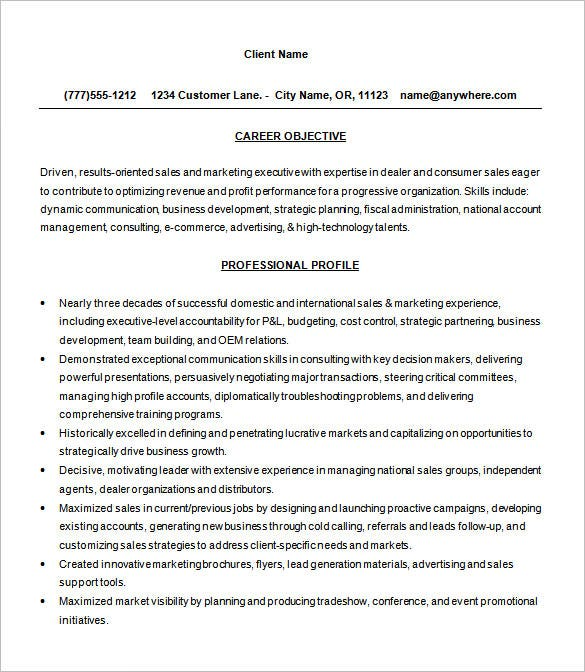 Free Sales Consultant Resume Word Format Download