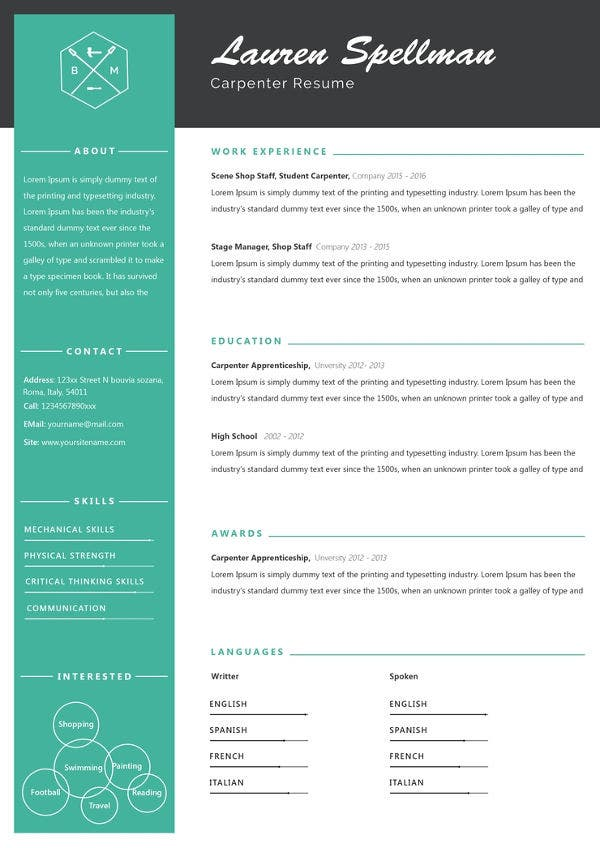 free-sample-carpenter-resume-template