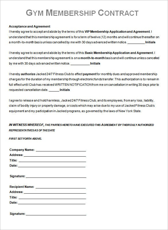 Gym Contract Template – 13+ Free Word, Pdf Documents Download