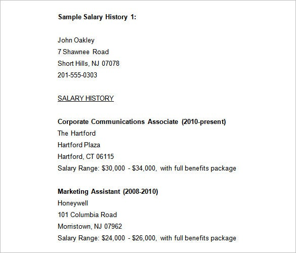 free sample salary histories for job seekers