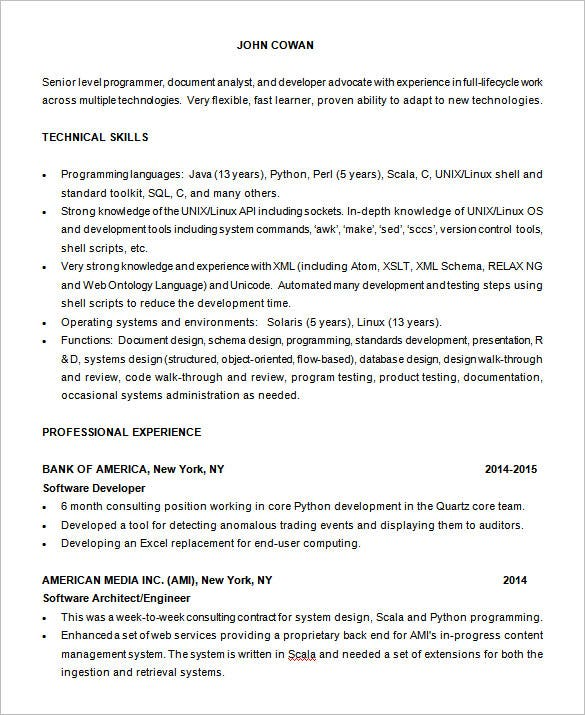 Resume Resume Example Programmer programmer resume template 8 free samples examples format senior download