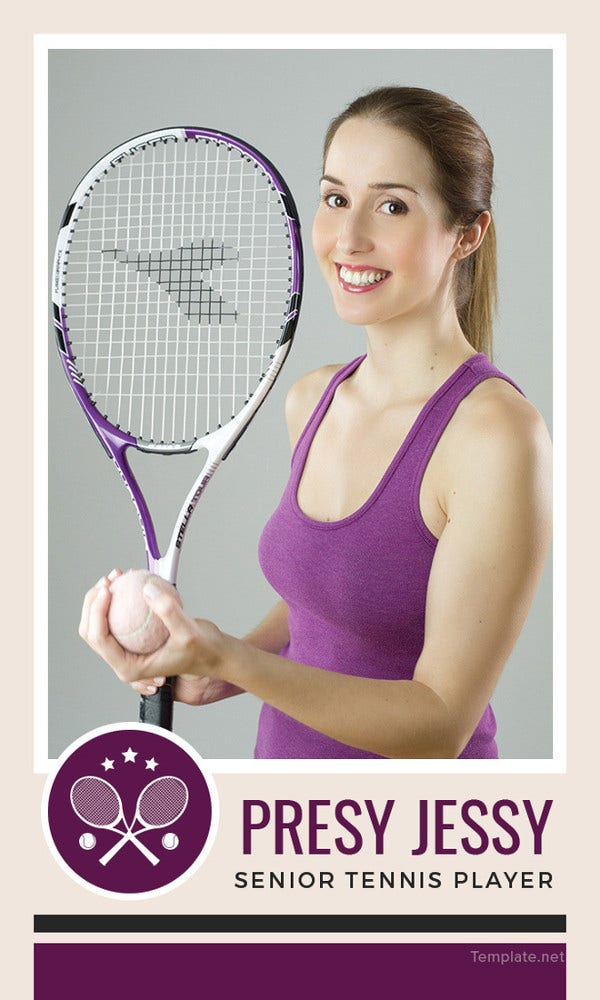 Free Senior Tennis Trading Card Template