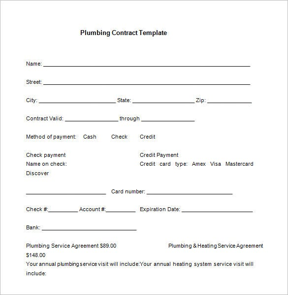 free service contract template for plumbing word download