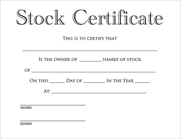 free stock certificate template editable