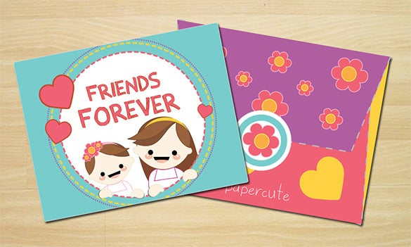 friends forever envelope and gift card template for 3