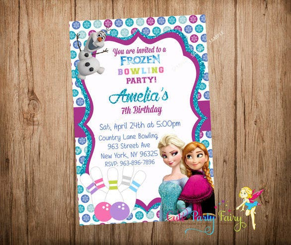 frozen bowling invitation template