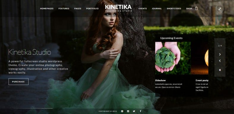 Fullscreen SlideShow Photography Wp Theme