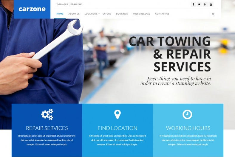 Fully Responsive AutoMobile Repair WordPress Theme