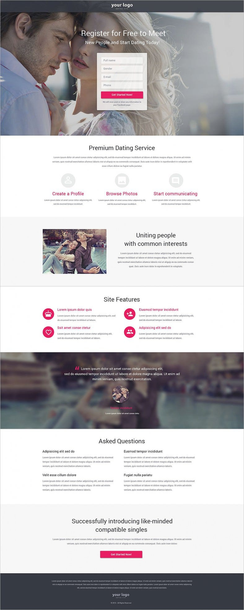 Fully Responsive Dating Landing Page Template