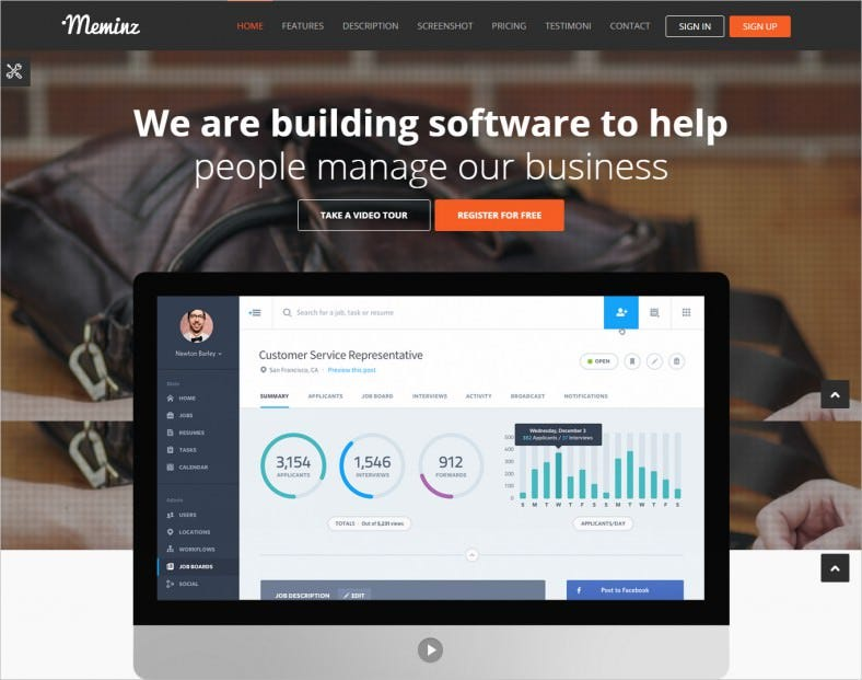 fully responsive software landing page template 788x621