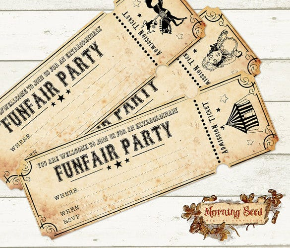 funfair circus invitation