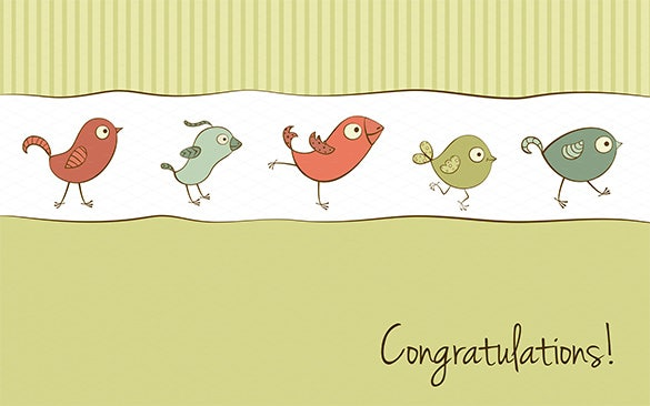 funny birds greeting congratulations card template