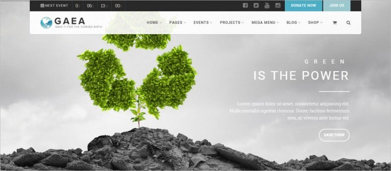 gaea environmental wordpress theme 788x346
