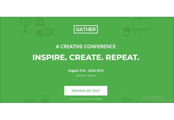 gather event landing page template