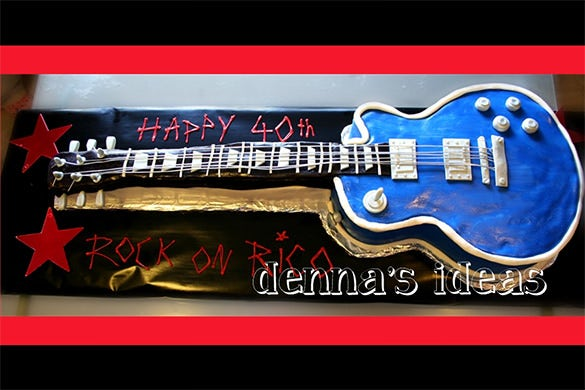 gibson electric guitar cake template