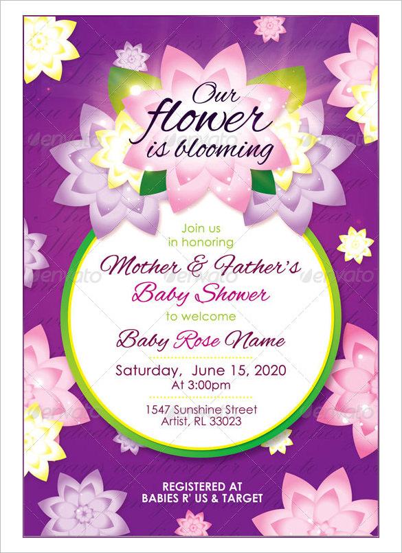 girl baby shower ticket invitation