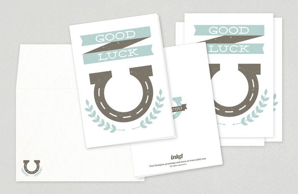 Good Luck Vertical Greeting Card Template  Good Luck Card Template