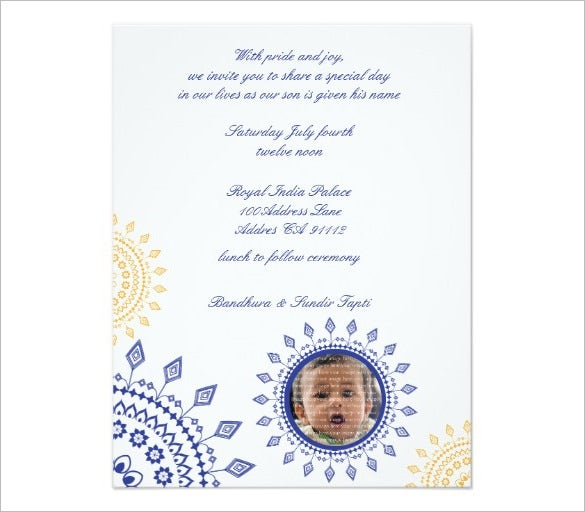 Naming Ceremony Invitations Free PSD PDF Format Download - Birthday day invitation letter