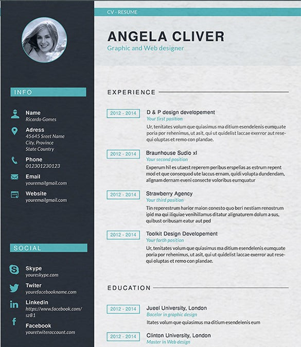 graphic and web designer resume template - Resume Templates For Graphic Designers