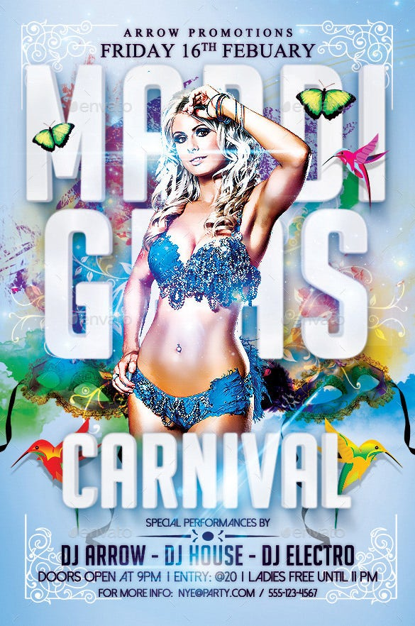 gras carnival flyer template
