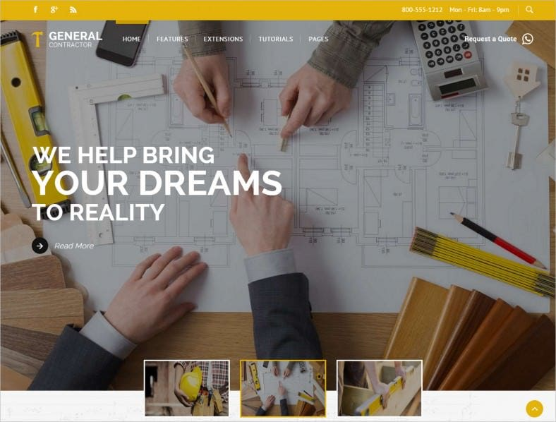 Great Joomla Template for Construction, Masonry, Carpentry